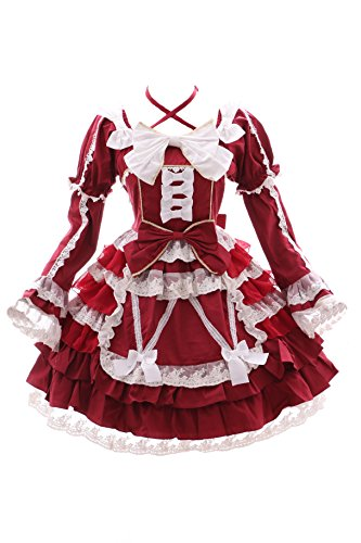 Kostüm Kawaii - JL-643-2 rot Chiffon Rüschen Spitze langarm / kurzam Kleid Victorian Classic Gothic Lolita Kostüm Cosplay Kawaii-Story (Gr. XL)