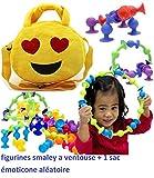 King Emoticon-Tasche + 15 Minifiguren Smiley mit Saugnapf, Handtasche oder mit Rundem Schultergurt, Reißverschluss Oben