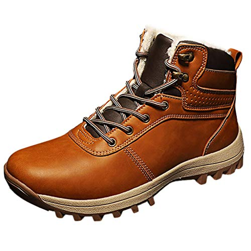 HDUFGJ Herren Damen Trekking-& Wanderhalbschuhe rutschfeste Outdoor-Schuhe Plus Samt Verschleißfest Wanderschuhe Reiseschuhe Bequem Laufschuhe Wasserdicht Freizeitschuhe 41(Gelb)