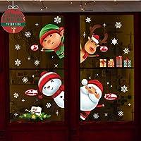 Autocollant De Noël Décoration,Yuson Girl en Verre Fenêtre Autocollant PVC Autocollant Statique Wall Sticker Fenêtre Fleur Santa Claus Snowflake Post