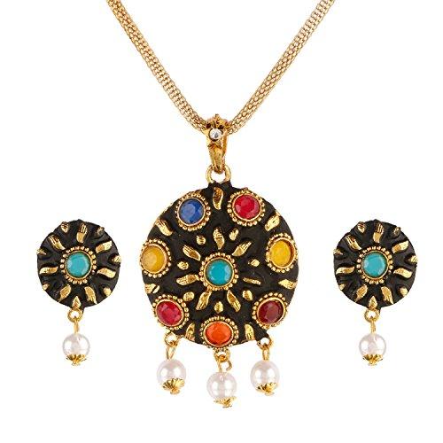 (Efulgenz Indischen Antik Multicolor Faux Edelstein Perlen Ohrringe Honigbernstein Mode Kostüm Schmuck Set für Frauen Mädchen)