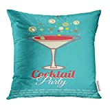 Throw Pillow Cover Colorful Martini Vintage Cocktail Party Pink Glasses Decorative Pillow Case Home Decor Square 18x18 Inches Pillowcase