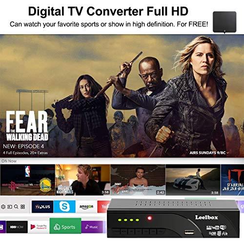 51R2Sp0faDL - Decodificador TDT Terrestre - Leelbox Digital TV HD Euroconector Sintonizador Receptor DVB T2 Tuner Full HD / HD Ready / 1080P / H.264 / MPEG / Dolby / Multimedia (DVB T2, PVR, SCART)