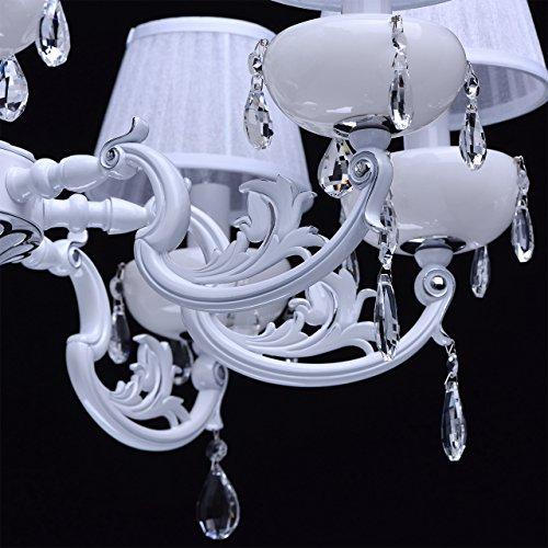 Kronleuchter weiß Kristall klar 8 flammig elegant pendell mit porzellan - 9