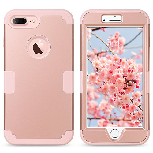 iPhone 7 Plus Cover, ULAK iPhone 7 Plus Custodia ibrida a protezione integrale cover per Apple iPhone 7 Plus con parte esterna in 3 strati di morbido silicone e interno rigido - Glitters Oro Rosa Oro Rosa