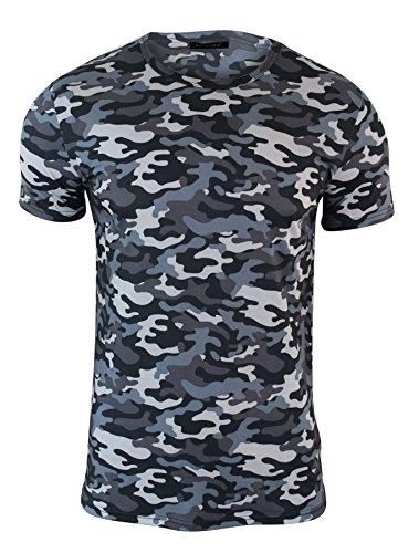 ox king Herren T-Shirt Kurze Ärmel Tarnung Muster Militär Armee Stil Blau Gelb (Armee Militär Gelben T-shirt)
