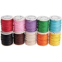 winomo 10rollos encerados algodón cuerda cera cinta cordón de algodón 10m 1mm para fabricar joyas.