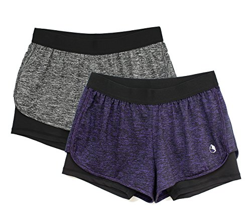 icyzone Damen Sport Shorts Kurze Hosen Sporthose - 2 in 1 Laufshorts Fitness Yoga Hot Pants (S, Charcoal/Purple)