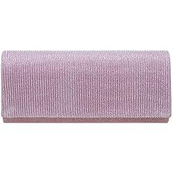 Caspar TA514 Bolso de Mano Brillante/Clutch Largo Brillo para Mujer, Color:lila, Tamaño:Talla Única