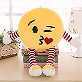 #6: Skylofts Cute 32cm Kissing Emoji Stuffed Smiley Cushion Emoji Pillow Soft Toy with legs and hands (Kissing Emoji)