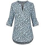 TEBAISE Damen Freizeit Chiffon Drucken V-Ausschnitt Manschetten-Ärmel Locker Shirt Bluse Oberteile Pullover Langarmshirt (Blau,S)