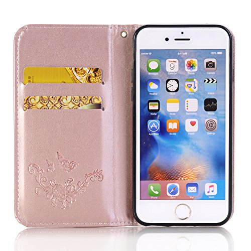 SainCat Coque Etui pour Apple iPhone 6s Cover Bumper,Anti-scratch Cuir Dragonne Portefeuille PU Cuir Etui Relief fille papillon Housse pour iPhone 6,Etui de Protection PU Leather Case Bling Diamond Br côté se leva-Or Rose