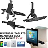 """SAVFY® - Support tablette 7"""" - 14"""" solide pour Samsung Galaxy Tab 2 10.1 / 3 10.1 / 4 10.1 / Note 10.1 2014 / Acer Iconia A3 / iPad 2 3 4 Air Mini / Sony Xperia Tablet Z Z2 / Asus Memo Pad 10, 360° Rotation Support Rotatif Voiture Auto pour 7 8 10 12.2 Pouces Tablet RÉGLAGE AJUSTABLE"""