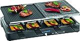 Raclette Grill + Heisser Stein mit Extrastarken 1300 Watt für 8 Personen Antihaft-Beschichtet...
