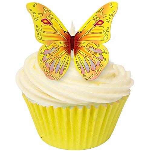 12-x-senza-zucchero-decorazioni-torte-giallo-e-pesca-farfalla-wafer-toppers