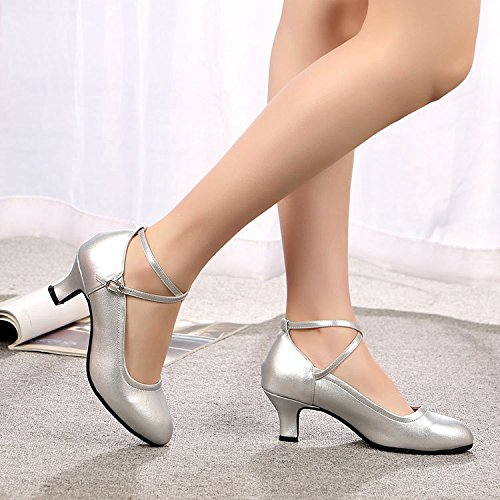 DGSA Square Dance Shoe_Latin Dance Schuh in niedrigen mit Square Dance Schuhe mit weichen, moderne Leder 3 Stunden mit Gold outdoor Gummi