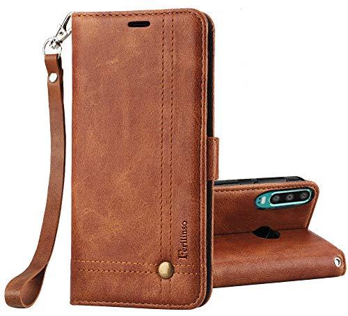 Ferilinso Hülle Kompatibel mit Huawei P30 Lite, Elegantes Retro Leder mit Identifikation Kreditkarte Schlitz Halter Schlag Abdeckungs Standplatz magnetischer Verschluss Kasten (Braun) -