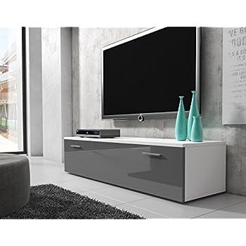 tv unit cabinet stand boston body matte white front grey. Black Bedroom Furniture Sets. Home Design Ideas
