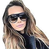gafas de sol hombre Sannysis gafas de sol mujer polarizadas Aviador Unisex gafas de sol vintage sunglasses retro de verano de viaje (negro)