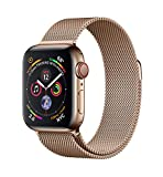 Apple Watch Series 4 (GPS + Cellular) 40 mm Edelstahlgehäuse, Gold, mit Milanaise Armband, Gold