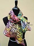 Sciarpa di seta lunga dipinta a mano animalier con design originale Batik colori vivaci. Miglior regalo per la donna