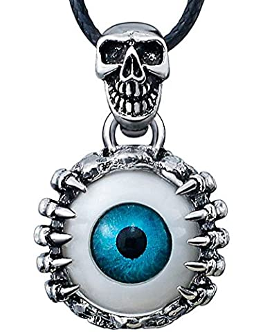 SaySure - Skeleton Skull Eyes silver tone Titanium Stainless Steel