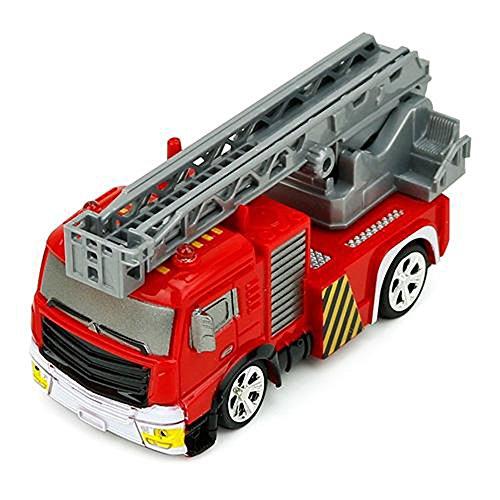 RC Auto kaufen Feuerwehr Bild 3: Brigamo Mini RC Feuerwehrauto mit Blaulicht, Ferngesteuertes Auto im Deko Feuerlöscher, Feuerwehr Leiterwagen, ideales Geschenk für Feuerwehr Fans (40 Mhz)*