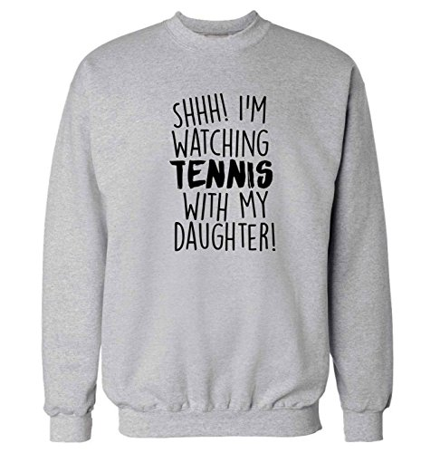 Flox Creative Adults Sweater Shh! I'm Watching Tennis with My Daughter!