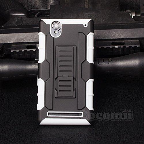 Cocomii Robot Armor Sony Xperia T2 Ultra Hülle [Strapazierfähig] Gürtelclip Ständer Stoßfest Gehäuse [Militärisch Verteidiger] Case Schutzhülle for Sony Xperia T2 Ultra (R.White)