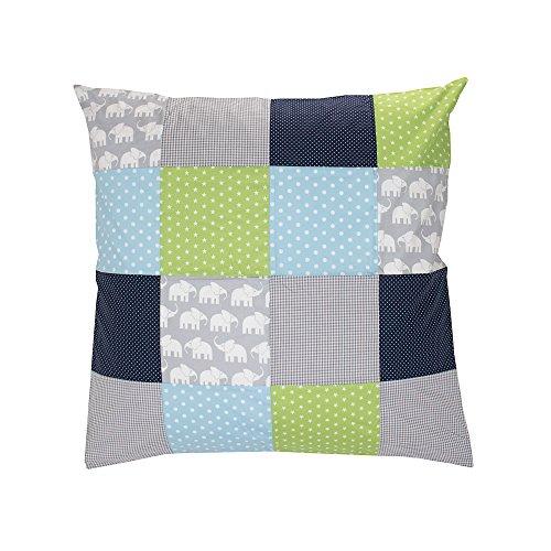 ULLENBOOM ® Baby Bettdeckenbezug 80x80 Elefant Blau Grün (auch als Kinderwagendecke oder Dekokissen geeignet, Motiv: Sterne, Patchwork)