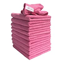 10 Pack of Pink Lint Free Microfibre Exel Super Magic Cleaning Cloths For Polishing, Washing, Waxing And Dusting.
