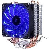upHere Refrigerador del procesador con ventilador PMW de 92 mm - Refrigerador de la CPU para AMD: FM2(+), FM1, AM3, AM3+, AM2, AMD 2+, 939, 754; Intel: 1366, 1150 (Haswell), 1155, 1156, 775 hasta 200 vatios de rendimiento t¨¦rmico, azul