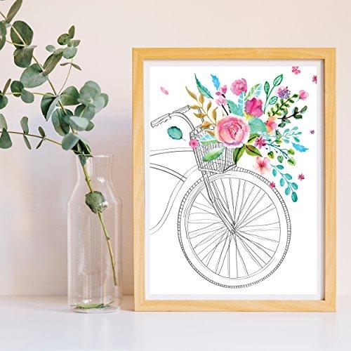 Nacnic Lámina para enmarcar Bicicleta EN Primavera. Poster en Tonos Rosas y turquesas y Verdes. Poster Estilo nordico. Lámina Impresa en Papel 250 Gramos tintas Resistentes. Tamaño A3