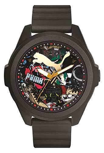PUMA Game Men's Quartz Watch with Multicolour Dial Analogue Display and Black Plastic Strap PU911311007