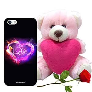 Valentine Gifts Homesogood Inspiring Love Multicolor 3D Mobile Case For iPhone 5 / 5S (Back Cover) With Teddy & Red Rose