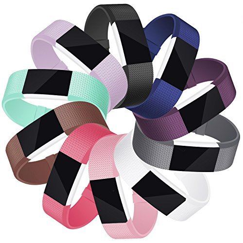 Mornex Für Charge 2 Armband, Original Ersatzarmband Sport Fitness Watch Band für Fitbit Charge 2 Armband, 10Pack, Large