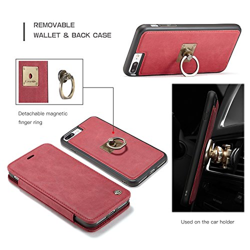 SDDMALL CaseMe Luxus abnehmbare 2 in 1 Magnetic Finger Ring Wallet Case mit Card Slot und Stand für Apple iPhone 7 Plus ( Color : Coffe ) Red