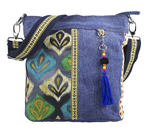 Sunsa Damen Tasche Umhängetasche Handtasche klein Canvas bag mit Jeans und Leder Vintage Design Teenager Taschen praktische Geschenke Bags for Women Schultertasche Damentaschen sale - Denim Tote Bag Handtasche