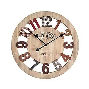 Mobili rebecca orologio da parete legno mdf rosso stile for Orologio legno amazon