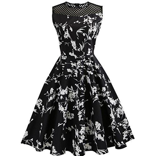 Damenkleid der Frauen kleid JYJM Hepburn weibliches Druck Retro- Blumentaillenkleid Frauen Vintage Floral Bodycon Sleeveless beiläufiges Abend-Partei-Abschlussball-Schwingen-Kleid (S, Schwarz) (Kleid Sleeveless Tank Floral)