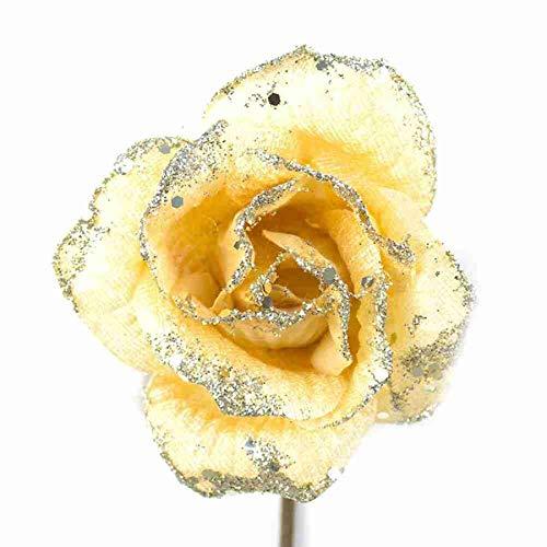 Bellera set 12 fiori natalizi colore oro, in tessuto e gambo corto, perfetti come decorazioni per il vostro albero di natale