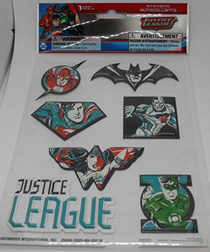 DC Justice League Puffy Aufkleber - 7 Stück, Flash, Wonder Woman, Superman, Batman, Cyborg, Green Lantern
