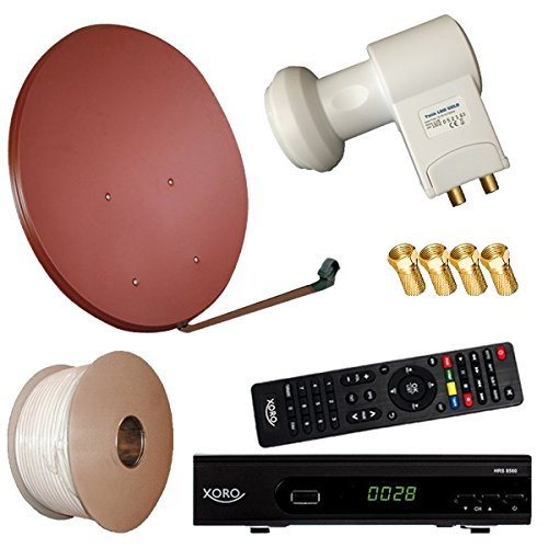 Bundle by netshop 25 Digitale Sat Anlage 80 cm + HD RECEIVER + 20m Kabel + HD Twin LNB = HD Komplett Set (3 Farben wählbar)