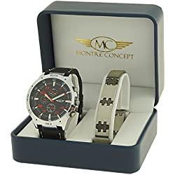 CBH2-A765-BLEU - Men's Watch Gift Set - Watch with Black Synthetic Strap and Black Round Face + Stainless Steel Bracelet