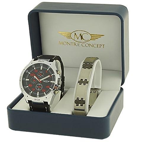 Coffret cadeau montre Homme - bracelet Synthétique Noir avec Cadran