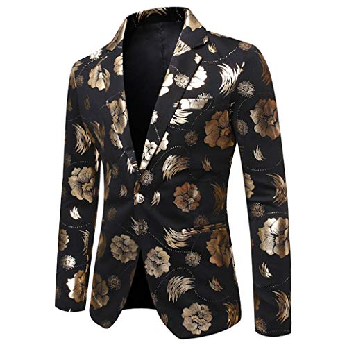 Rocker Und Mods Kostüm - AZZRA Herren Casual Vintage Umlegekragen Langarm Print Floral Anzug Mantel Jacke Sakkos Blazer Slim Fit Gelb Pailletten Einreihig Revers Anzugjacke Party Smoking Performance Kostüm