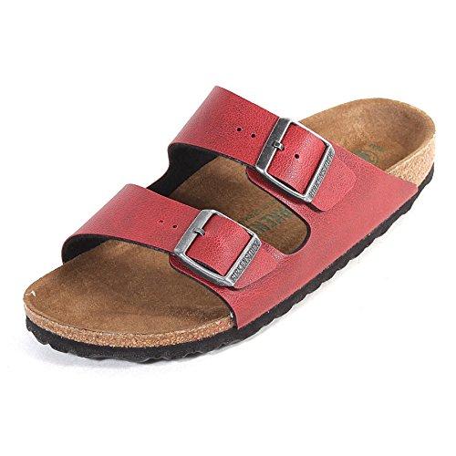 ee173c594 Birkenstock Women s Arizona Vegan Pull Up Narrow Fit Sandal  Bordeaux-Bordeaux-7 Size 7