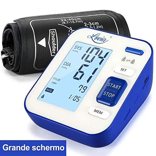 Misuratore di Pressione da Braccio, Lovia Digitale Misuratore di Pressione, Misurare Sanguigna Pressione e frequenza cardiaca,Grande Schermo LCD, 240 Memoria,Certificato FDA/CE