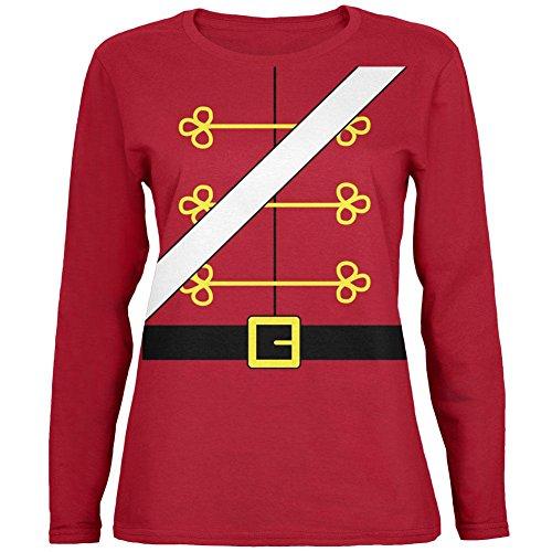 Weihnachten Spielzeug Soldat Nussknacker Kostüm Womens Long Sleeve T-Shirt rot SM (Nussknacker Kostüm)