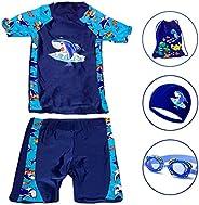 Boys 2 Piece Rash Guard Swimsuits Set with Swim Cap, Goggles, Storage bag 4 in 1 Swimmingware for boys 2-13yea